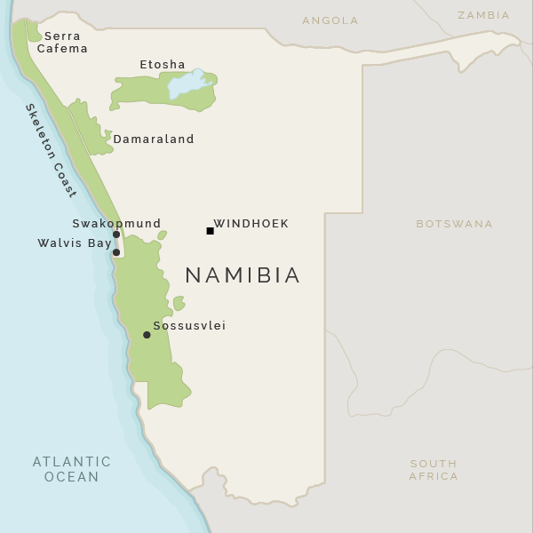 Namibia On Africa Map.Namibia Holidays Namibia Safaris With Africa Odyssey