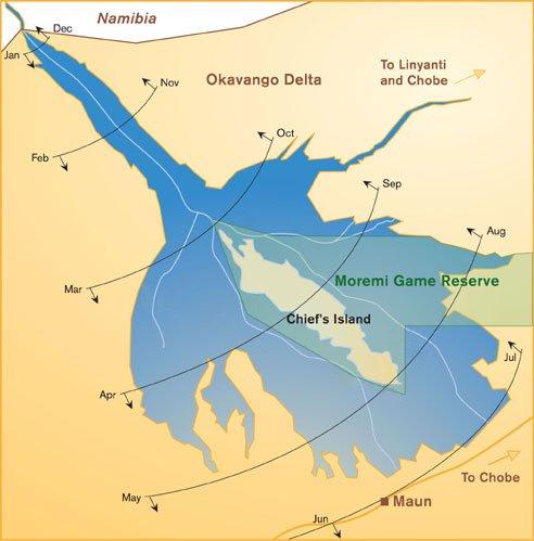 Botswana okavango delta flood map